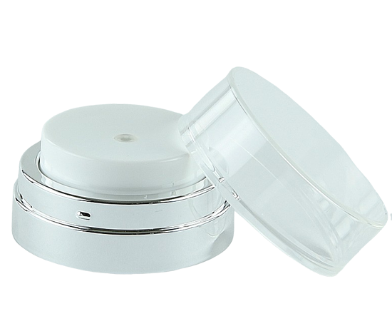 APJY Airless Lotion Pump CLOC (for Jar 50mL) Shiny-Silver with White Button + Overcap CLEAR