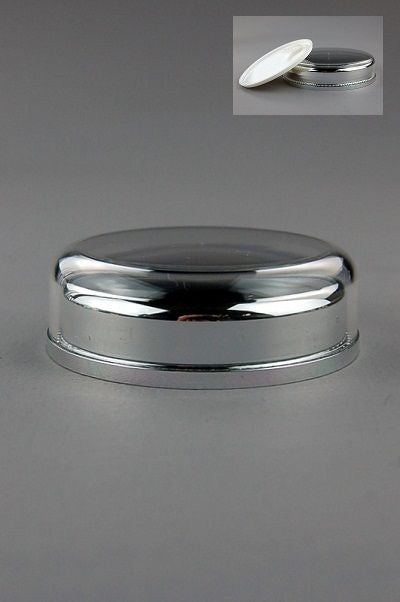 Lid+Seal (for Jar 30mL Taj) Wadded Shiny-Silver Inner + Clear Outer + Seal White (assembled inner l