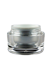Jar 30mL Taj  Round Base Shiny-Silver Inner + Clear Outer ACRYLIC (assembled inner jar + outer jar)