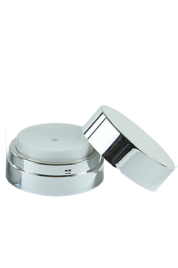 APJY Airless Lotion Pump SSOC (for Jar 15, 30mL) Shiny-Silver with White Button + Overcap SHINY-Silver