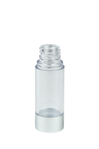 Airless Bottle 15mL Ava Kapp Clear Body with Matte-Silver Base
