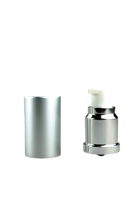 APJY Airless Lotion Pump MSOC (for Bot 15mL Kapp) Shiny-Silver with White Button + Overcap MATTE-Silver