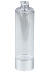 Airless Bottle 100mL Ava Kapp Clear Body with Matte-Silver Base