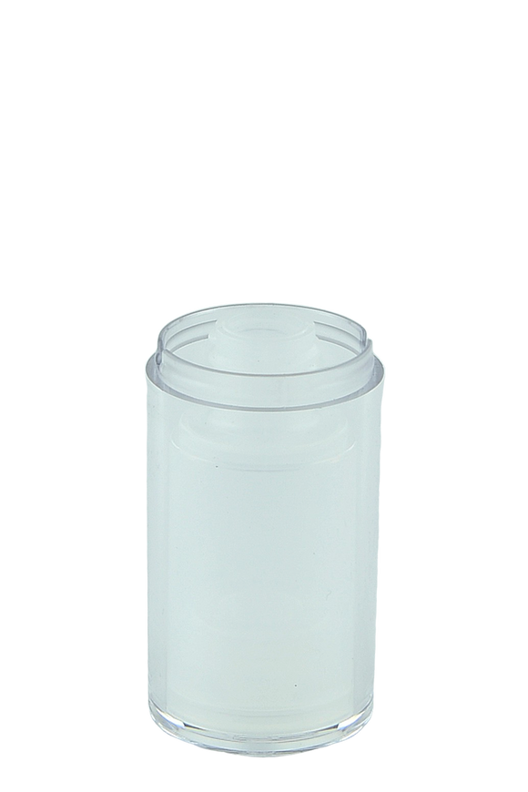 Airless Bottle 15mL Ava Twist Clear Outer + Natural Inner