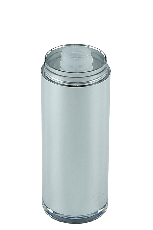 Airless Bottle 30mL Ava Twist Silver Outer + Natural Inner