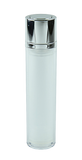 APZ Airless Lotion Pump (for Bot 15, 30 & 50mL Twist) Shiny-Silver with FLAT Top Silver Button