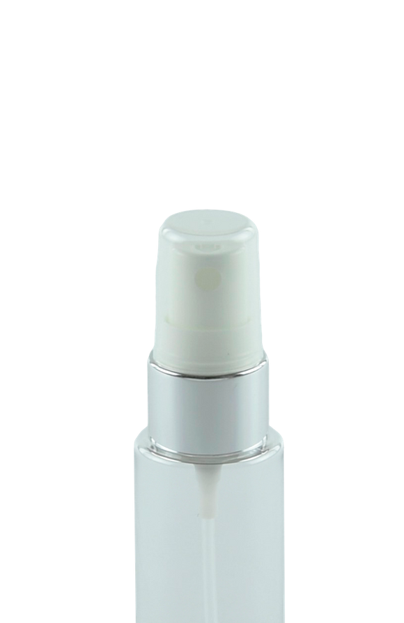 FMZ Fine Mist Spray 20/410 White with Shiny-Silver sleeve 240dt fbog + Overcap Clear Domed