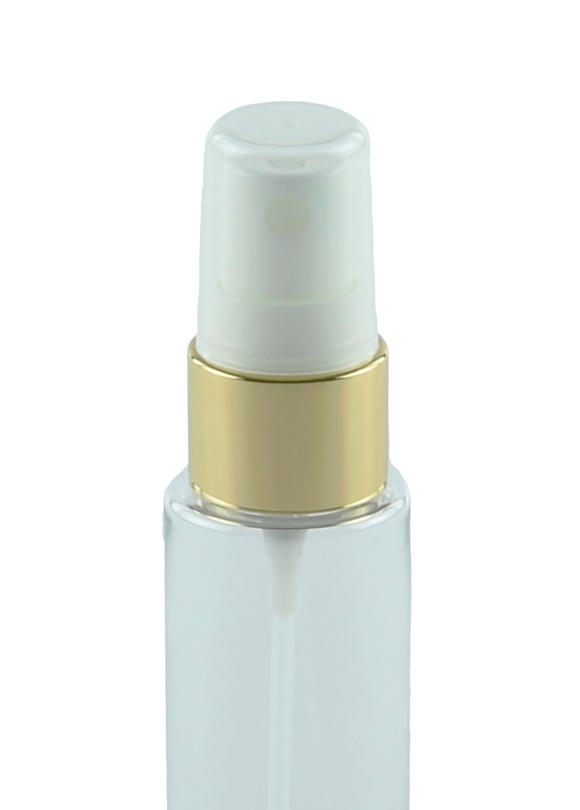 FMZ Fine Mist Spray 20/410 White with Shiny-Gold sleeve 240dt fbog + Overcap Clear Domed