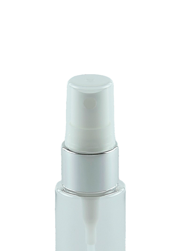 HVFMZ High-Viscosity Fine Mist Spray 20/410 White with Shiny-Silver sleeve 240dt fbog + Overcap Clear Square