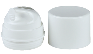 APH Airless Lotion Pump WHOC (for Bot 30mL & 50mL) White + Rubber Grip-PMS 427 + Plug + Overcap WHITE