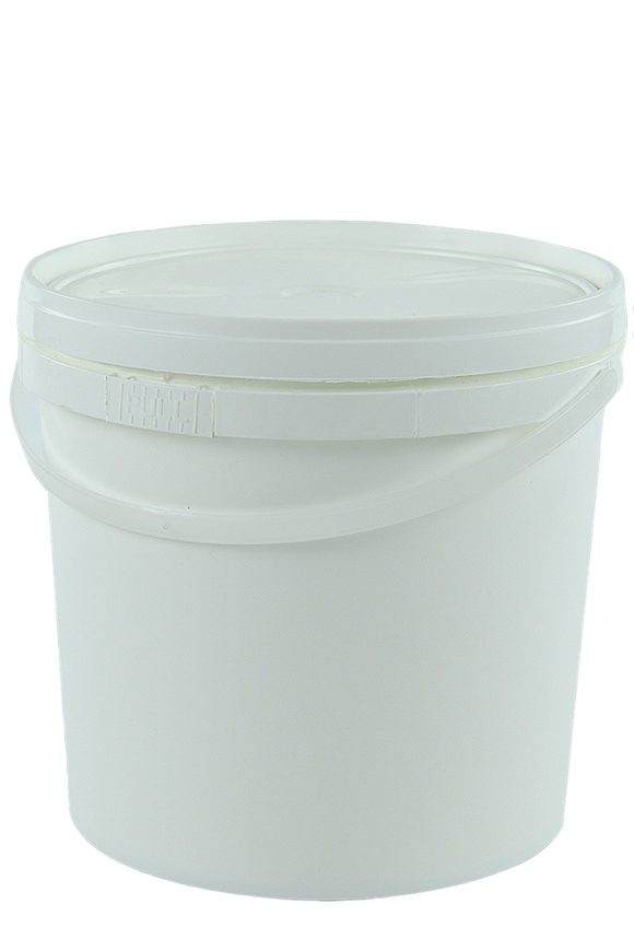 Pail 5Ltr Base White PP with Natural Handle + White Lid