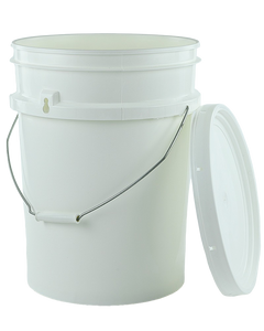Pail 20Ltr Base ONLY White PP TAMPER-EVIDENT with Steel Handle