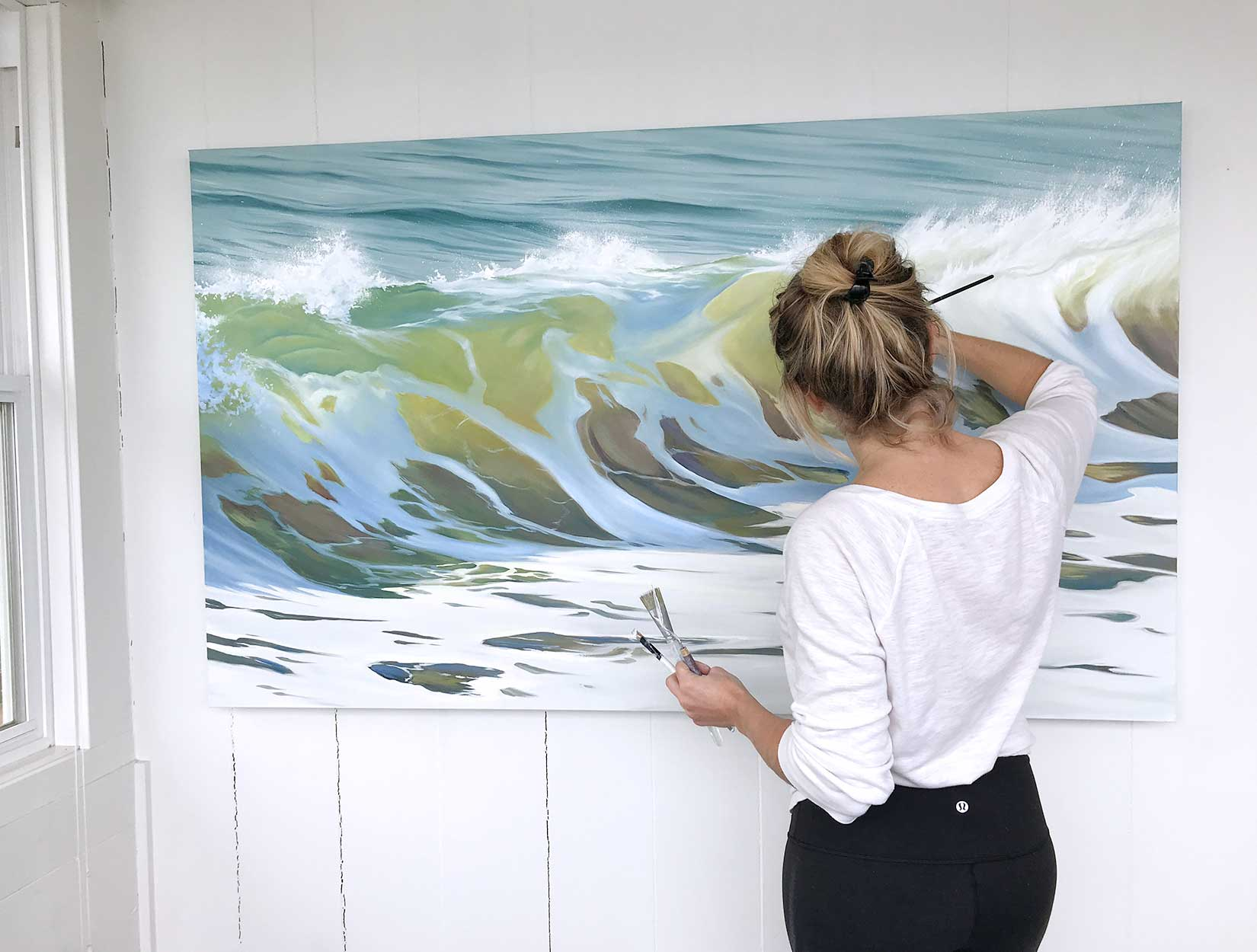 Painting a huge wave ocean art oil painter art studio