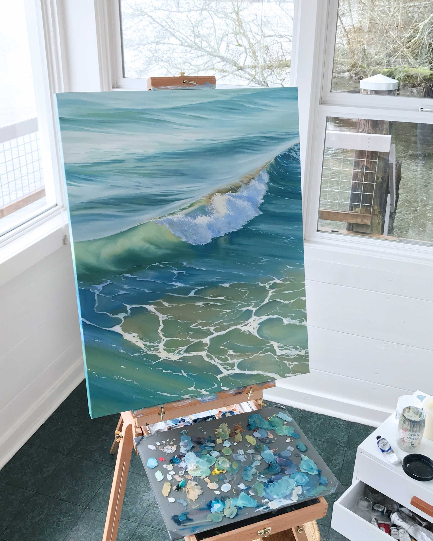 Art Studio Ocean Art Waves and Foam