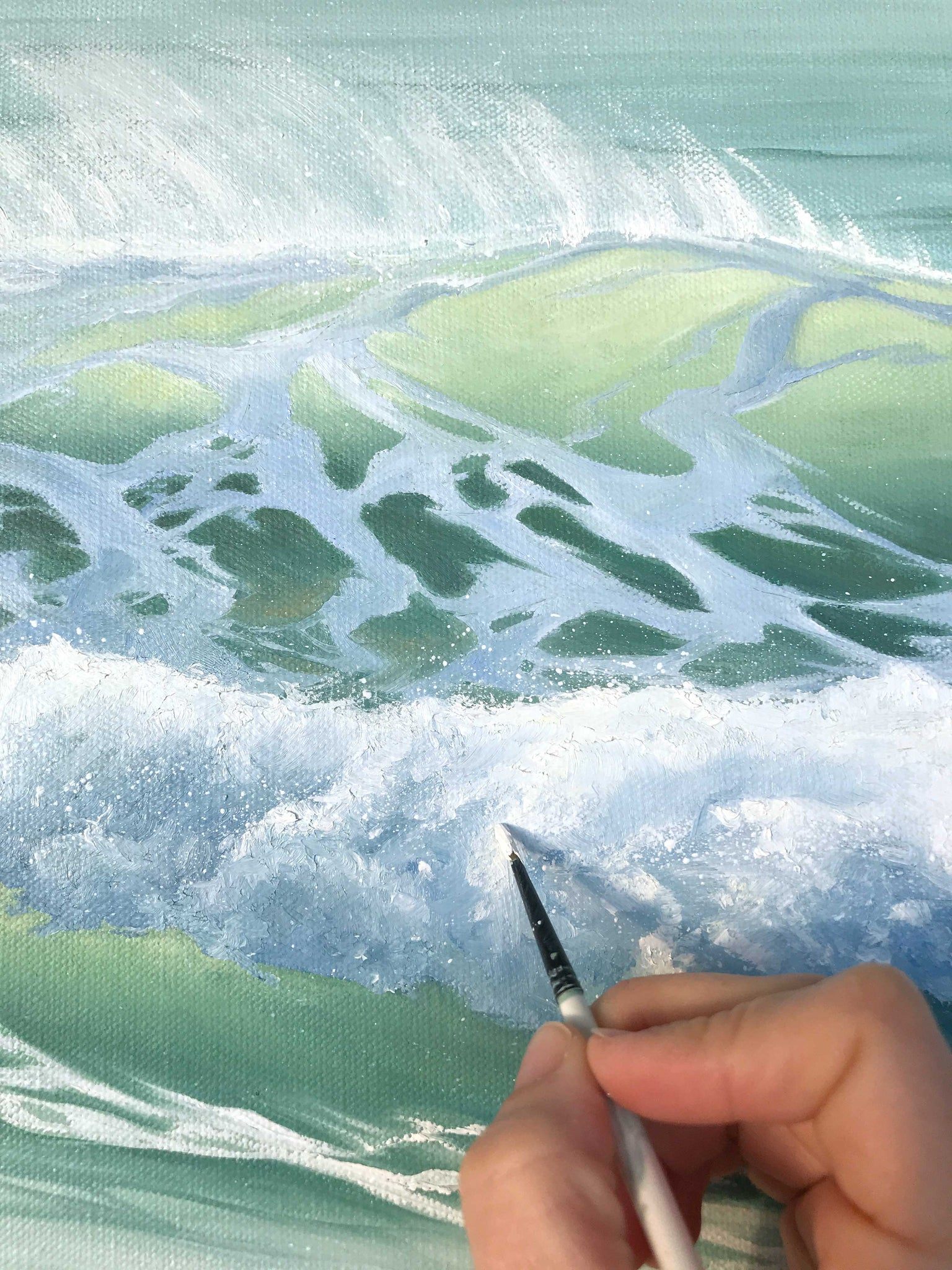 Painting Glowing Waves with Foam and spray Ocean Artwork