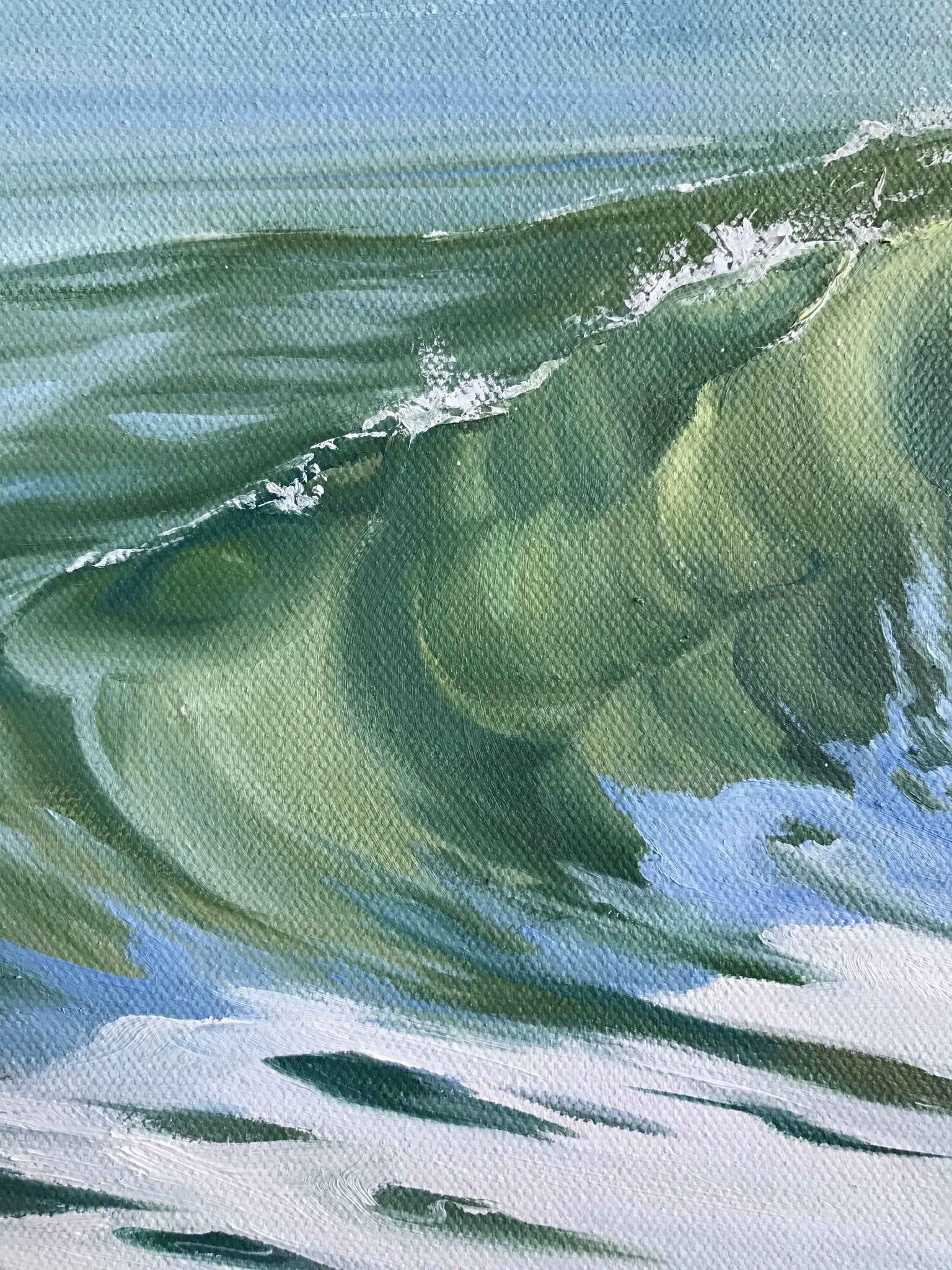 Emerald wave face oil painting fine art ocean coastal colors home
