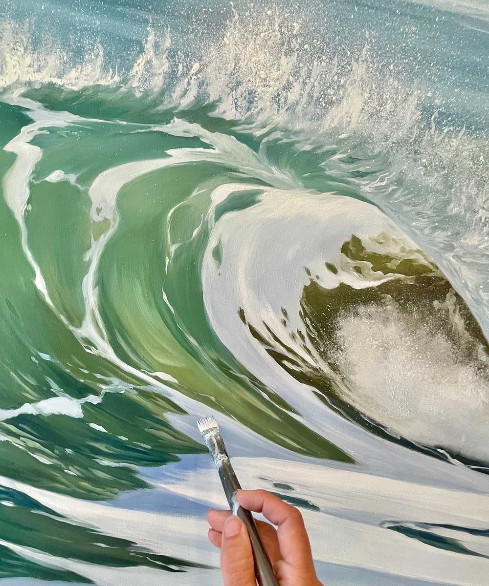 Close up how to paint waves ocean foam