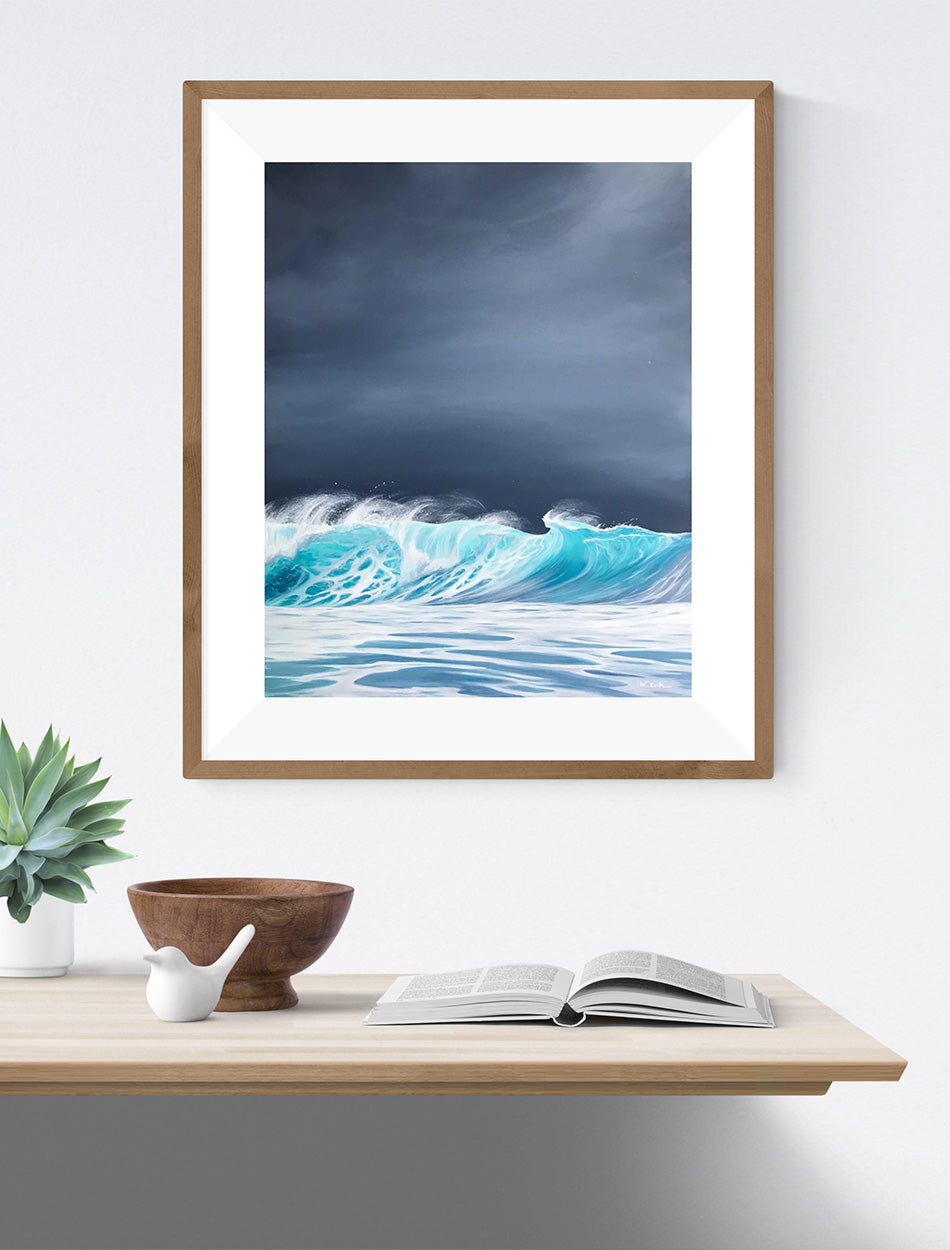 Framed Art Ocean Waves Stormy Sky Beach Decor