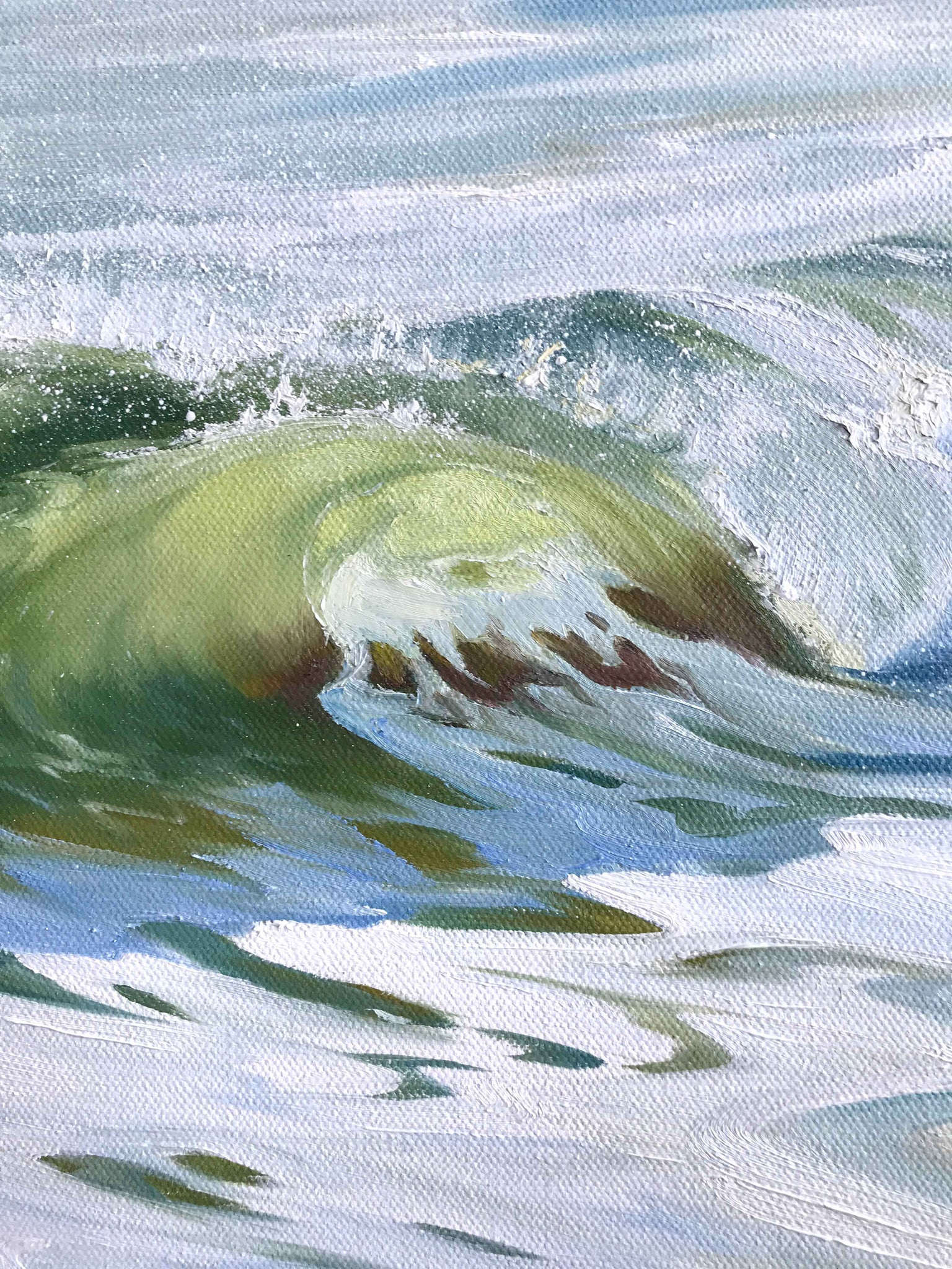 Close up details of Ocean Wave Surf Oil Painting Art - Fine Artist Julie Kluh