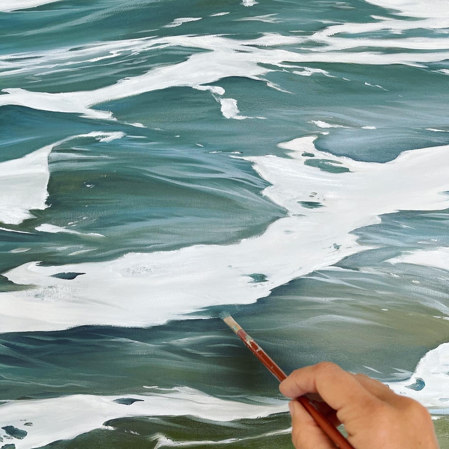 Painting water oil paint on canvas Julie Kluh