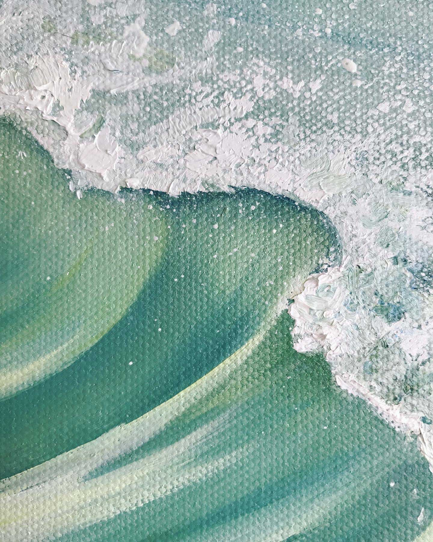 Close up of oil painting of wave with foam and spray