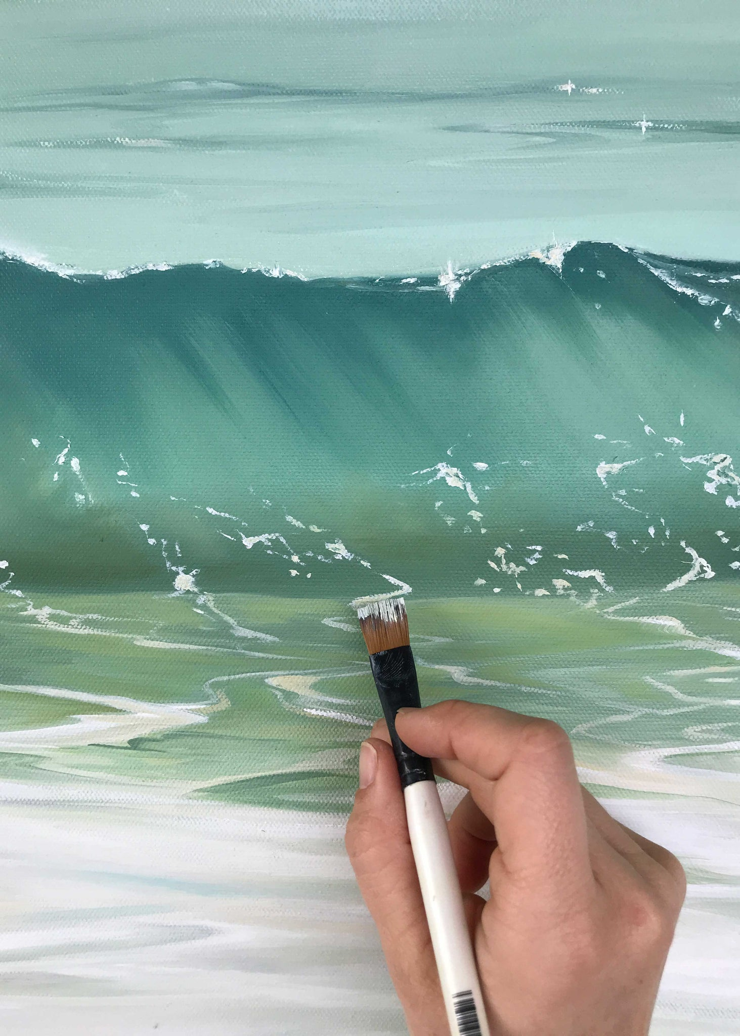 Up close detail painting waves with oil paint - ocean art Julie Kluh