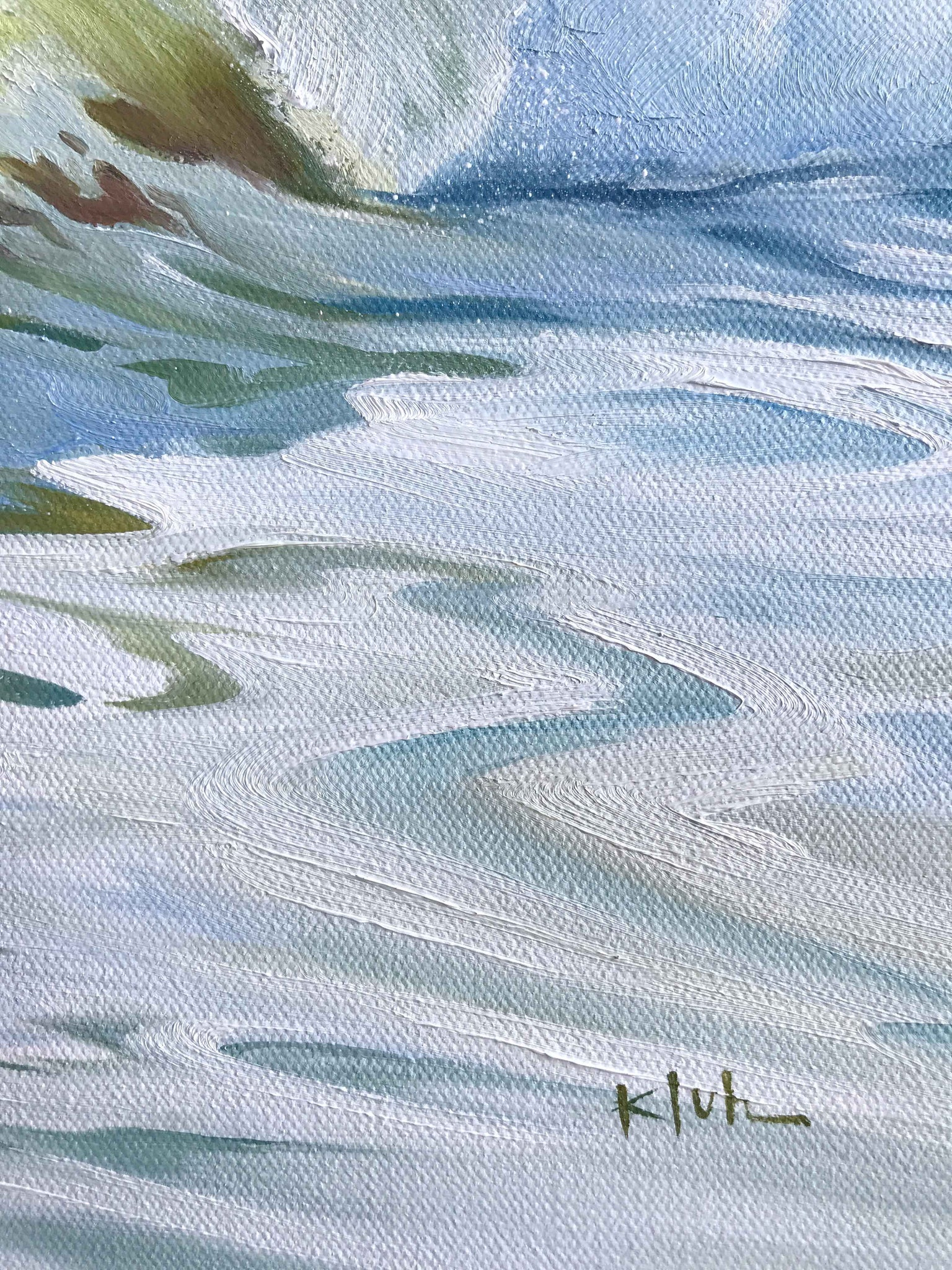 Details of seafoam and water oil painting - Julie Kluh Art