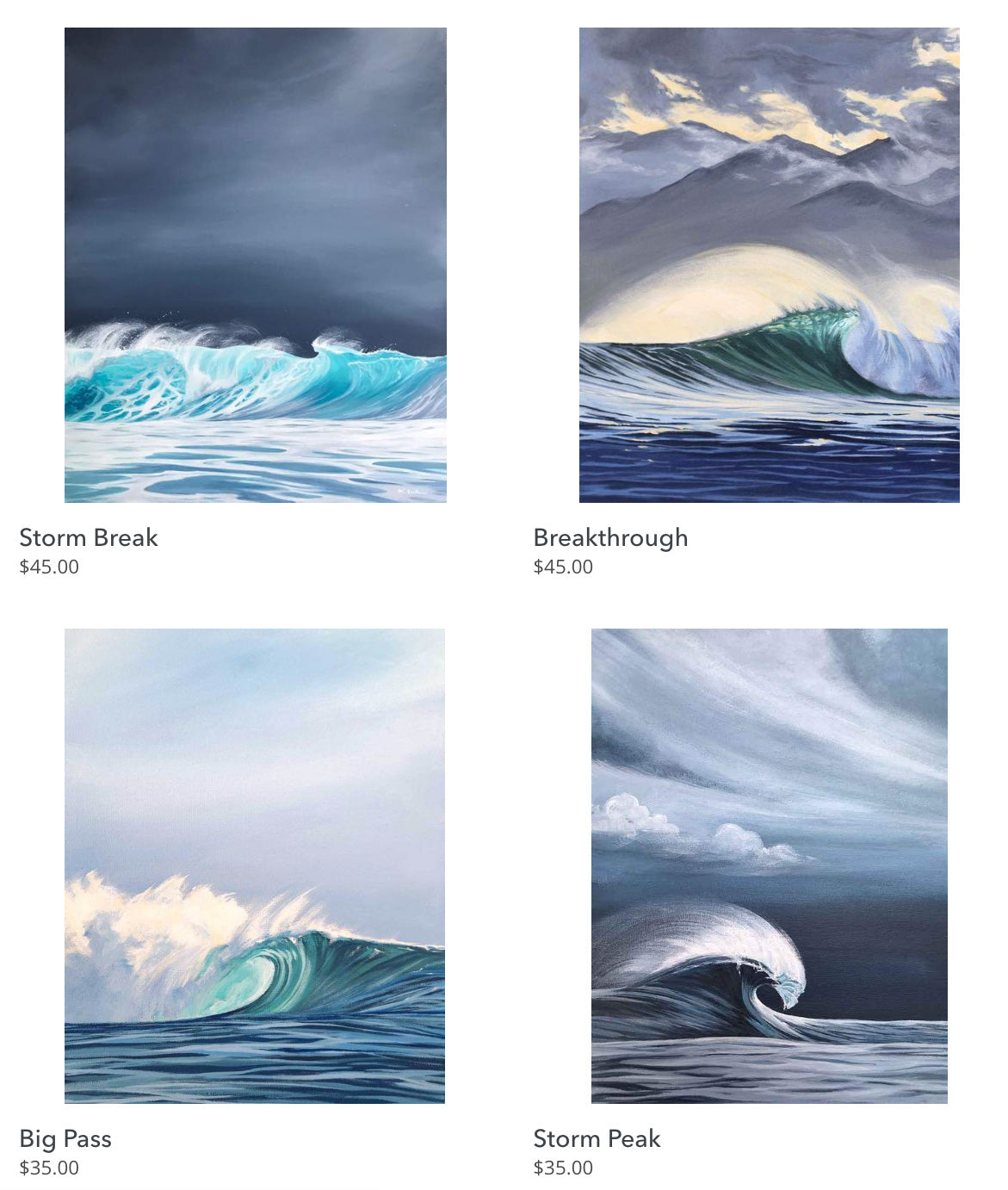 Wave Art Surf Paintings French Polynesia Artwork