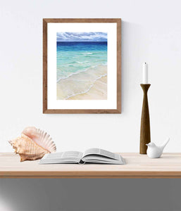 Ocean artwork clear water island art - Calming beach decor