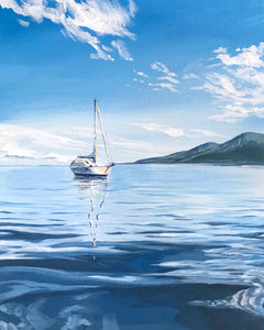 Calm Blue water with sailboat South Pacific Artwork painting prints by Julie Kluh