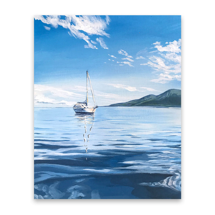 Calm Blue | Sailboat Art Print