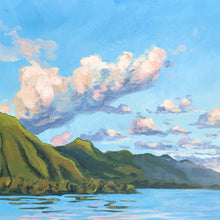 Plein Air Original Artwork Tahiti French Polynesia Julie Kluh Blue Green Sunset Tradewind Clouds