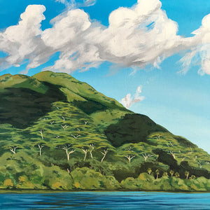Cloud Shadows, Acrylic Painting of a Tahitian Hillside from the sea, Tahiti, French Polynesia Art by Julie Kluh