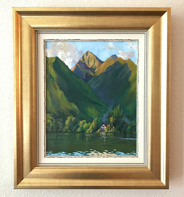 Tahiti Art in Gold Frame, Mountains, Ocean and Tiny Chalet