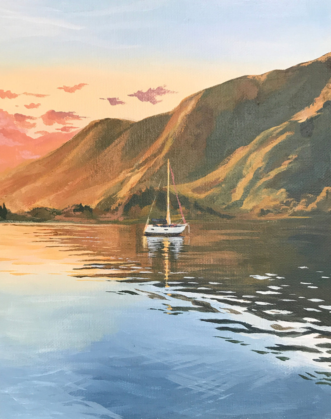 Golden Hour, Acrylic Painting of a Sailboat in Golden Light in Tahiti, French Polynesia, Painted in a Sailboat Studio - Art by Julie Kluh