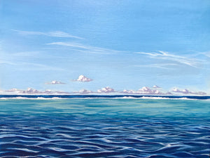 High Noon, Acrylic Painting of the Tahiti Lagoon, Deep to Shallow water, Tahiti, French Polynesia Art by Sailor Julie Kluh