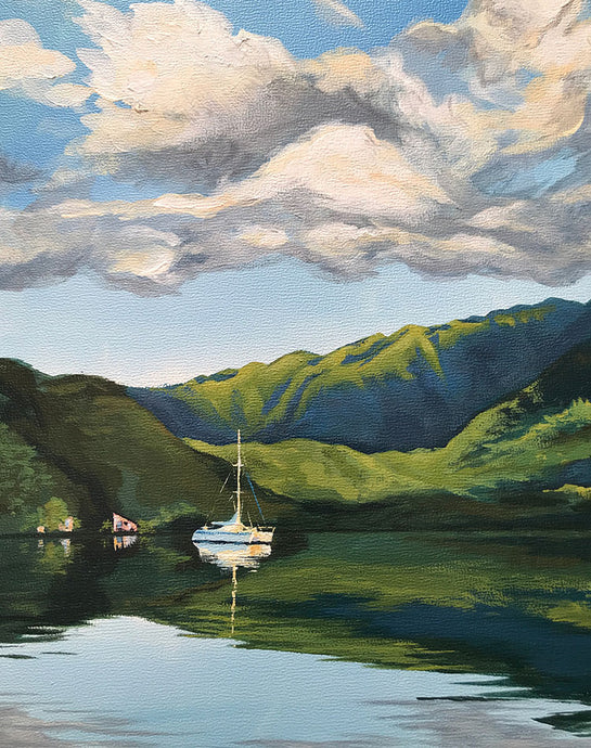 Morning Mirror, Acrylic Painting of a Sailboat Calm Still Water in Taravao, Bay of Phaeton, Tahiti, French Polynesia Art by Julie Kluh