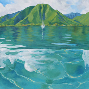 Painting of Tahitian Mountains and Lagoon with Sailboat - Morning Paddle - by Artist Julie Kluh