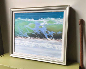 Ocean decor prints, ocean art of wave breaking on the shore, green blue brown, Julie Kluh Art
