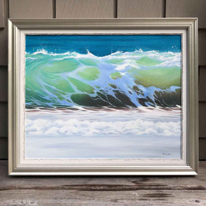 Ocean Decor Prints - Shorebreak Oil on Canvas Wave Painting Green Gold Blue - Portugal - Julie Kluh Art