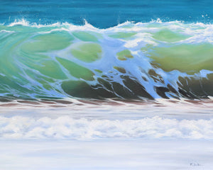 Shorebreak Oil on Canvas Wave Painting Green Gold Blue - Ocean Decor Prints - Julie Kluh Art