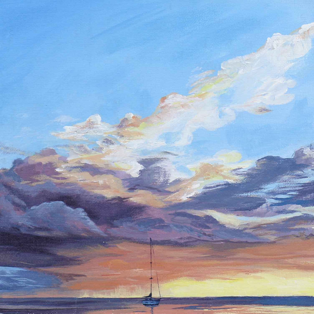 Sunset Squall Artwork Painting from Tahiti French Polynesia, Cruising Sailboat Artist