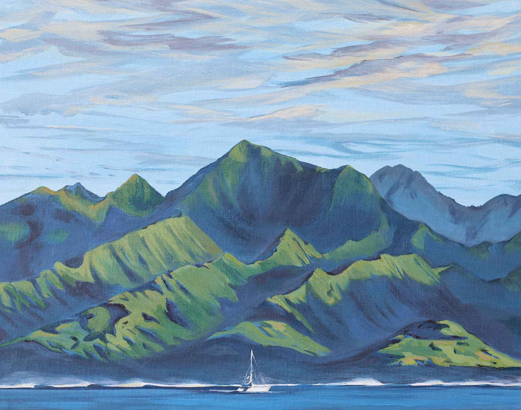 Tahiti Nui Art, Artwork of Tahitian Mountains viewed from sea, Tahiti-iti, Tahiti Nui, French Polynesia South Pacific Art by Julie Kluh