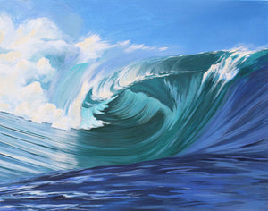 Teahupoo Art, Surf Wave Painting Tahiti Pacific Ocean by Julie Kluh