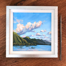 Plein Air Original Artwork Tahiti French Polynesia Julie Kluh Art Blue Green Sunset Tradewind Clouds
