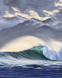 Wave art of Tahiti, clear water surf art by Julie Kluh