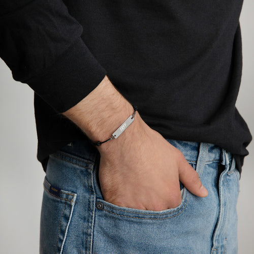 Engraved Silver Bar String Bracelet-FRFF