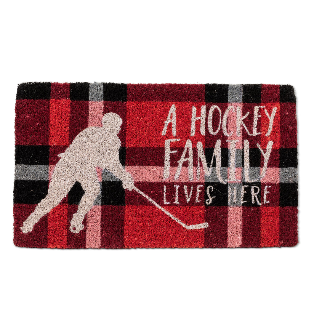 Plaid Hockey Family Doormat