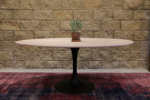 Aspen Oval Dining Table with Metal Base - White Wash Top