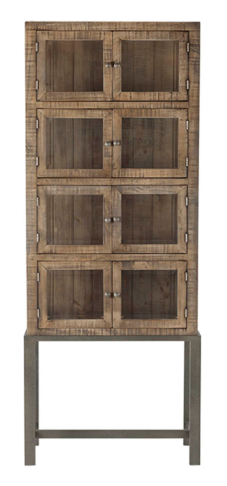 Santa Fe Display Cabinet w/ Glass - Rustic Taupe
